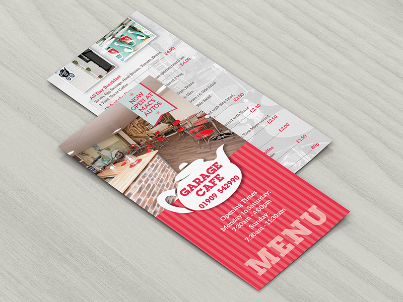 Leaflet Design & Print - Garage cafe menu