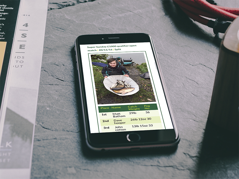 Website Design - Aston Park Fisheries Phone View