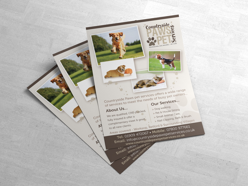 Leaflet Printing - Countryside Paws Pet Services